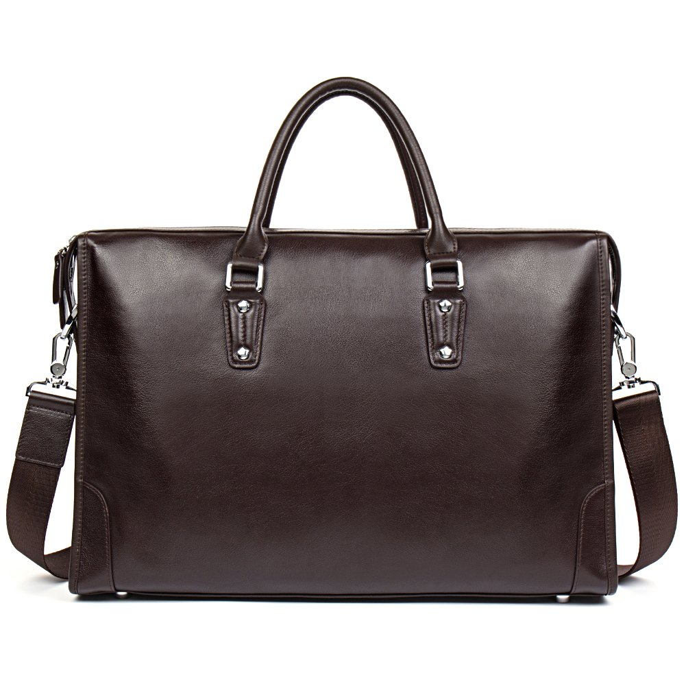 MANTOBRUCE Leather Briefcase for Men Women Travel Work 15'' Laptop Bag by MANTOBRUCE (Image #2)