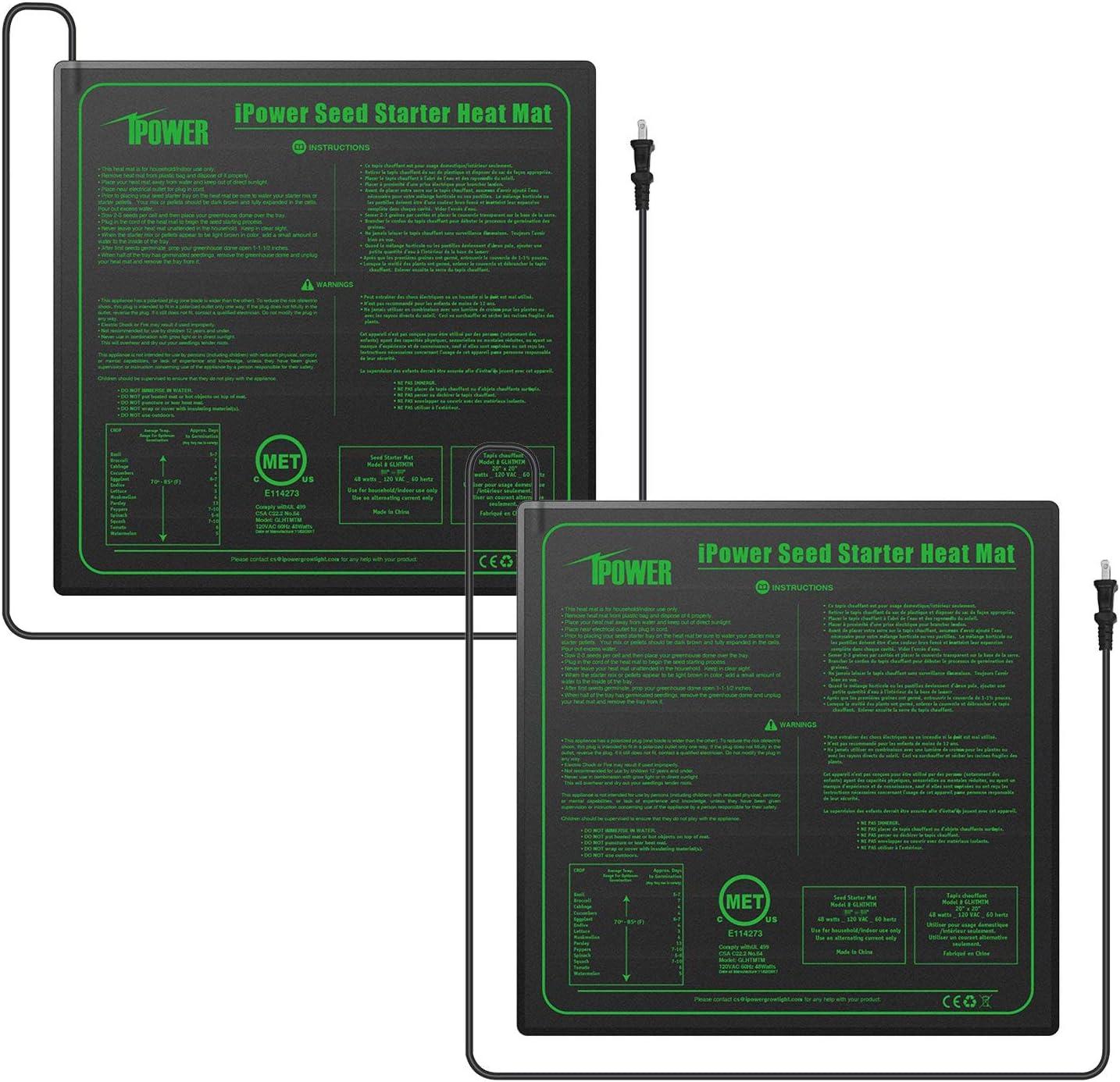 iPower GLHTMTMX2 2-Pack Durable Waterproof Seedling Mat 20 x 20 Warm Hydroponic Heating Pad, Black