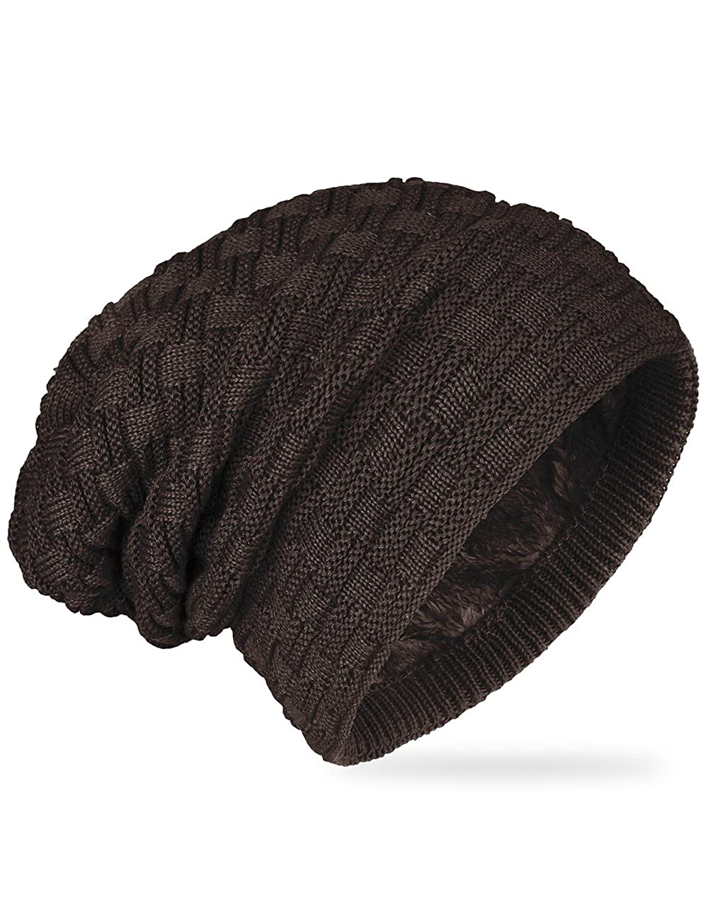ISASSY Unisex Slouch Beanie Warm Knitted Winter Hat Men Women Black UK-FWC8015BK
