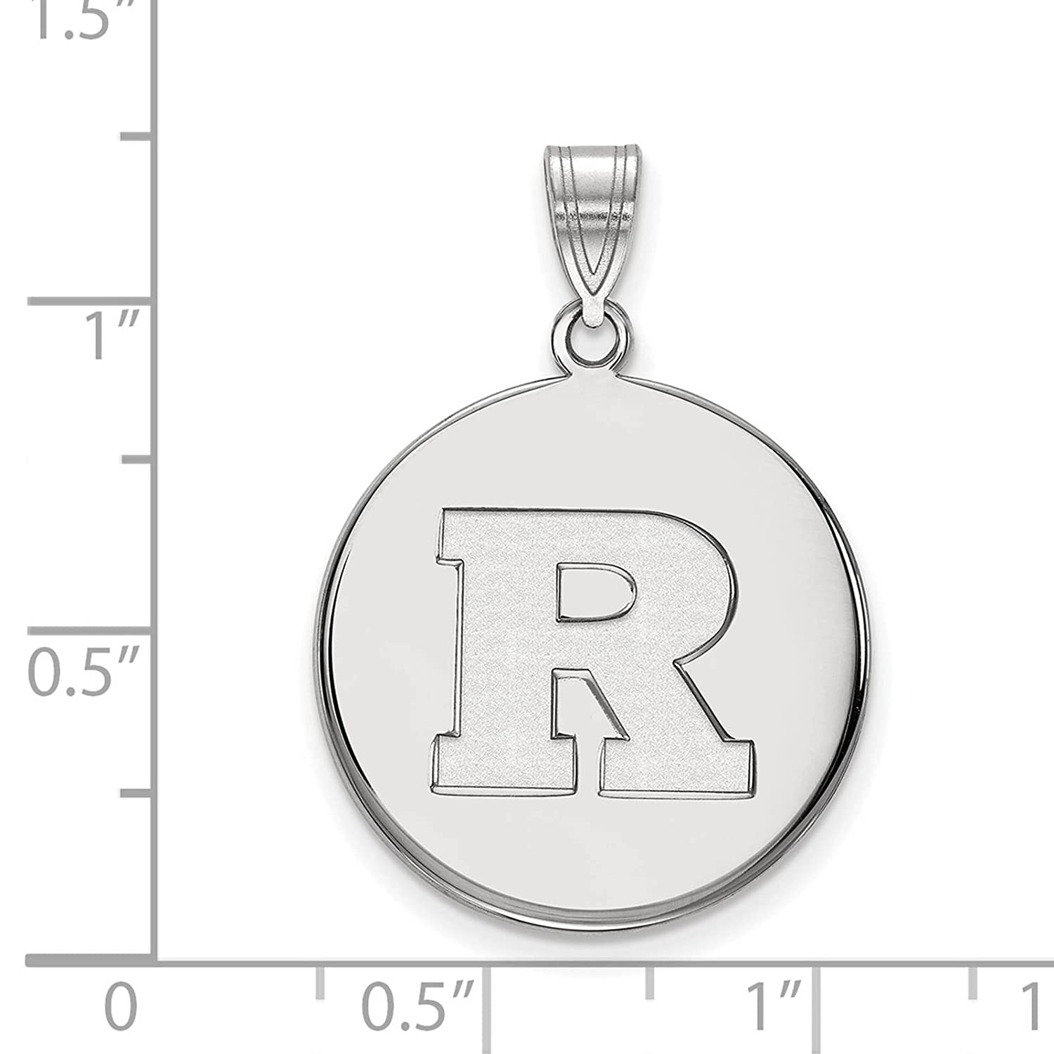 925 Sterling Silver Rhodium-plated Laser-cut Rutgers University Large Disc Pendant
