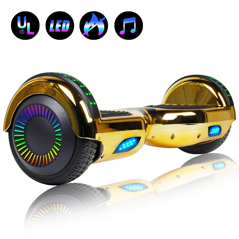 Felimoda 6.5'' inch Hoverboard Electric Smart Self Balancing Scooter w/Built-in Wireless Speaker LED Wheels and Side Lights- UL2272 Certified