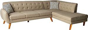 Poundex Bobkona Belinda Linen Sectional Sofa