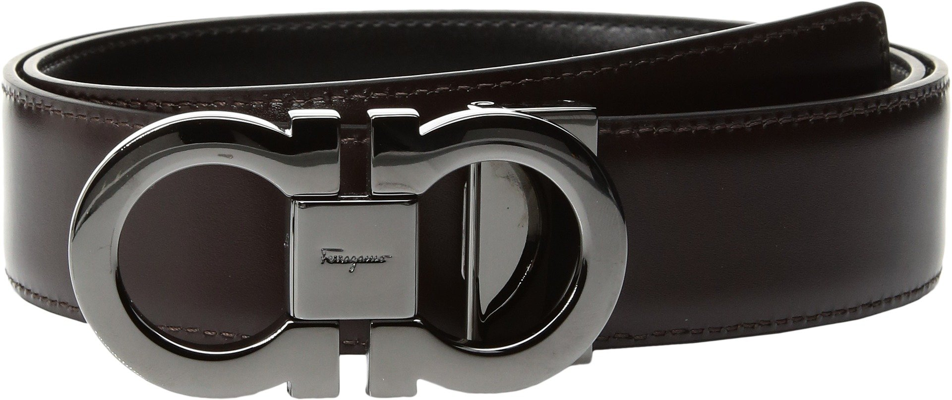 Salvatore Ferragamo Men's Double Gancini Reversible Belt, Black/Auburn, 36 by Salvatore Ferragamo (Image #2)