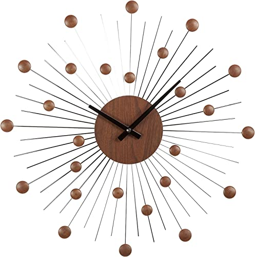 Stilnovo Mid Century Star Wall Clock, Wood Silver