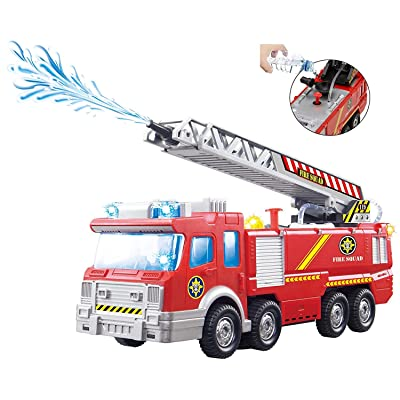 Top Race Fire Engine Truck with Water Pump Spray, Extending Rescue Ladder, and Flashing Lights & Sirens, Battery Operated Bump & Go Action Toy: Toys & Games