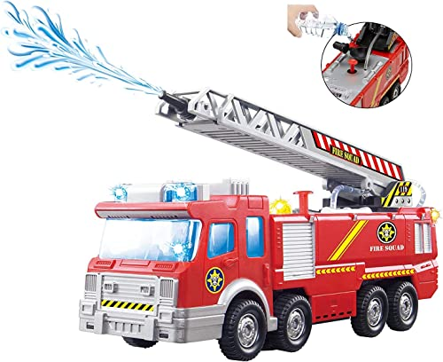 Toy Race Fire Engine Truck with Water Pump Spray