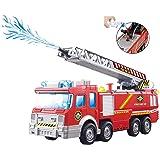 ToyZe® Camion dei Pompieri con Pompa dell'Acqua e Scala con Luci Lampeggianti & Sirene, Giocattolo Bump & Go a Batterie