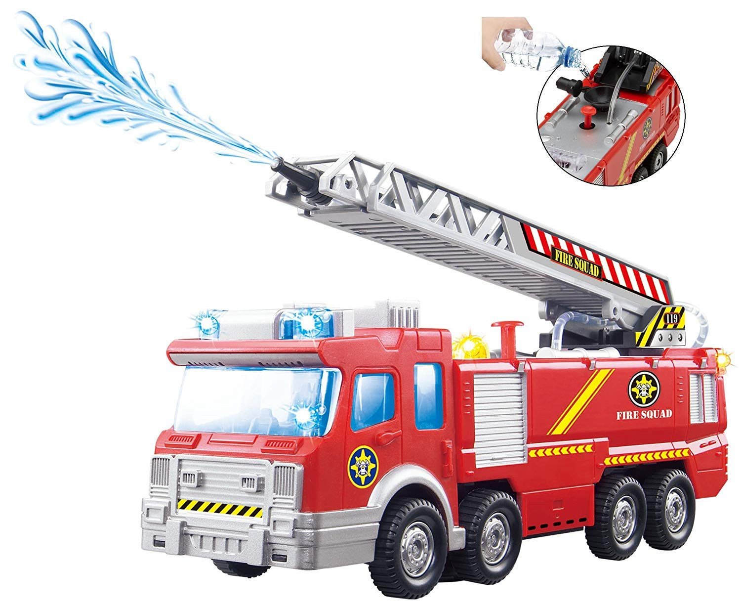 Top Race Fire Pump Engine Truck with Real Splashing Water - Extending Ladder; Flashing Lights & Sirens- Bump and Go Action Toy, Watch These Toys Turn Corner When Knocks Wall, Battery Operated, Red
