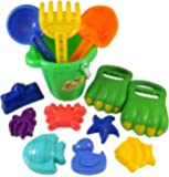Liberty Imports Dinosaur Sand Digger Scoop Claw Beach Toy Set | 13 Piece with Bucket, Shovels, Rakes, Molds (Assorted Colors)