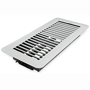 "Deflecto Floor Vent Register, 4"" x 10"", White (RGFW104)"