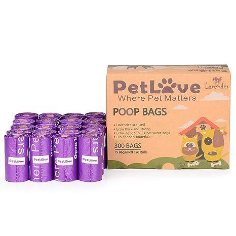 PetLoft - Bolsa de residuos para Perros, Biodegradable y Duradera, 300 Unidades, con Aroma de limón y tecnología EPI (15 Bolsas/Rollo, 20 Rollos), ...