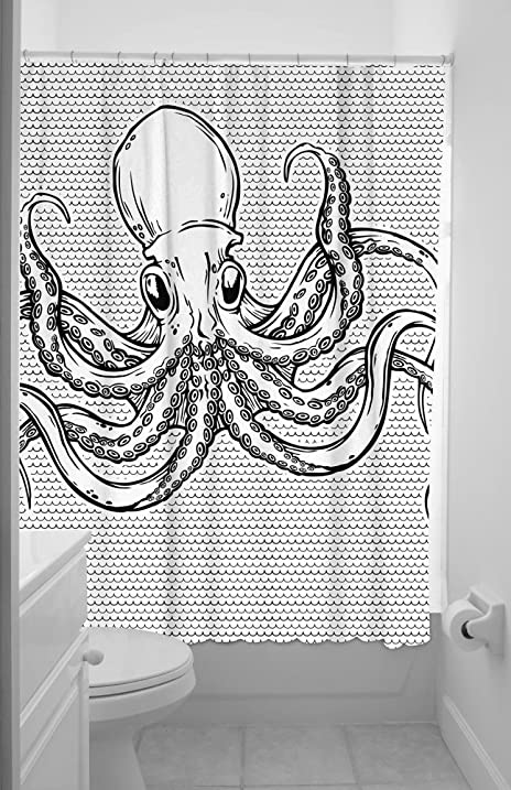 Awesome Sourpuss Octopus Shower Curtain, 72 Inch X 78 Inch