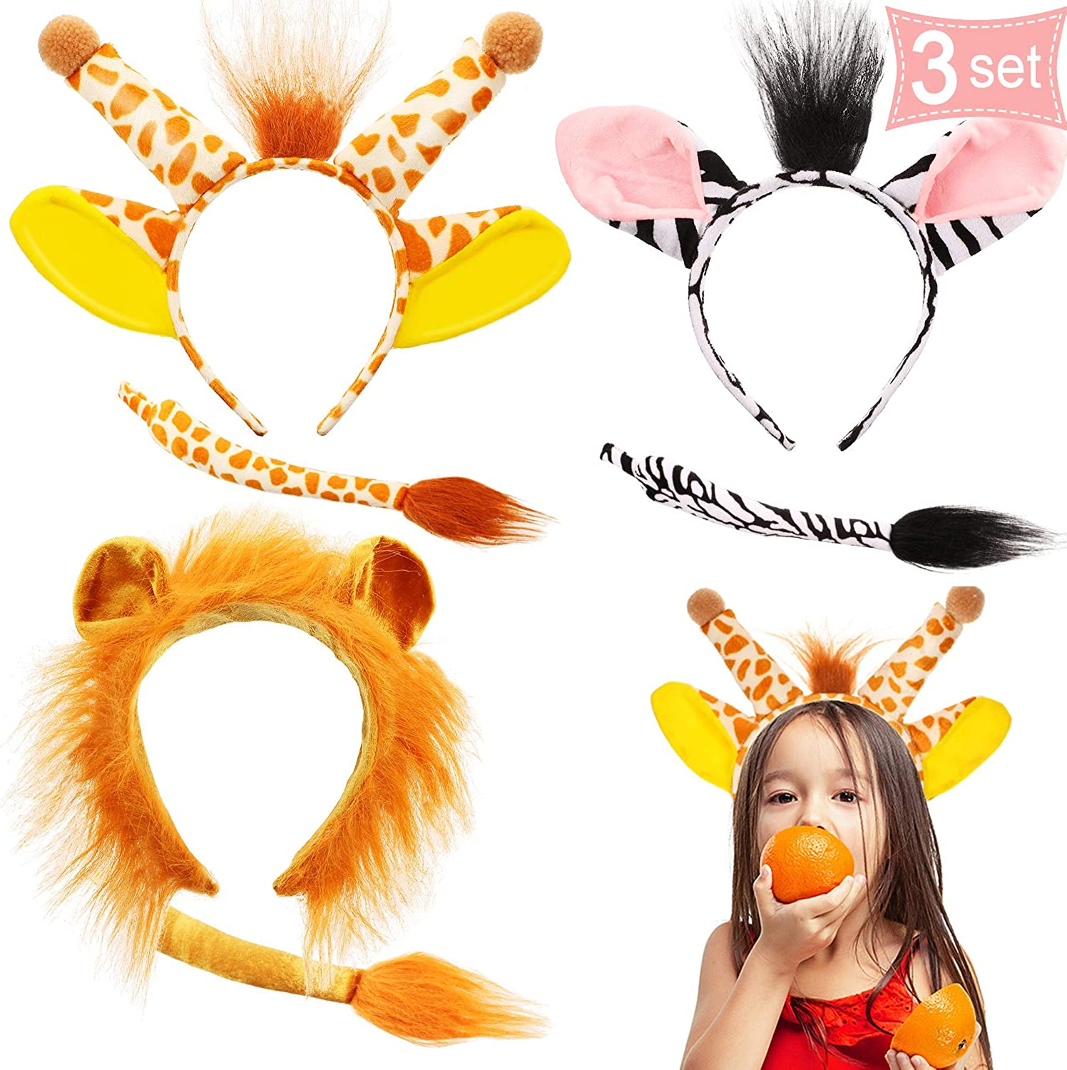 3 Sets Funny Halloween Animal Costume Set Lion Giraffe Zebra Ears Headband Tails