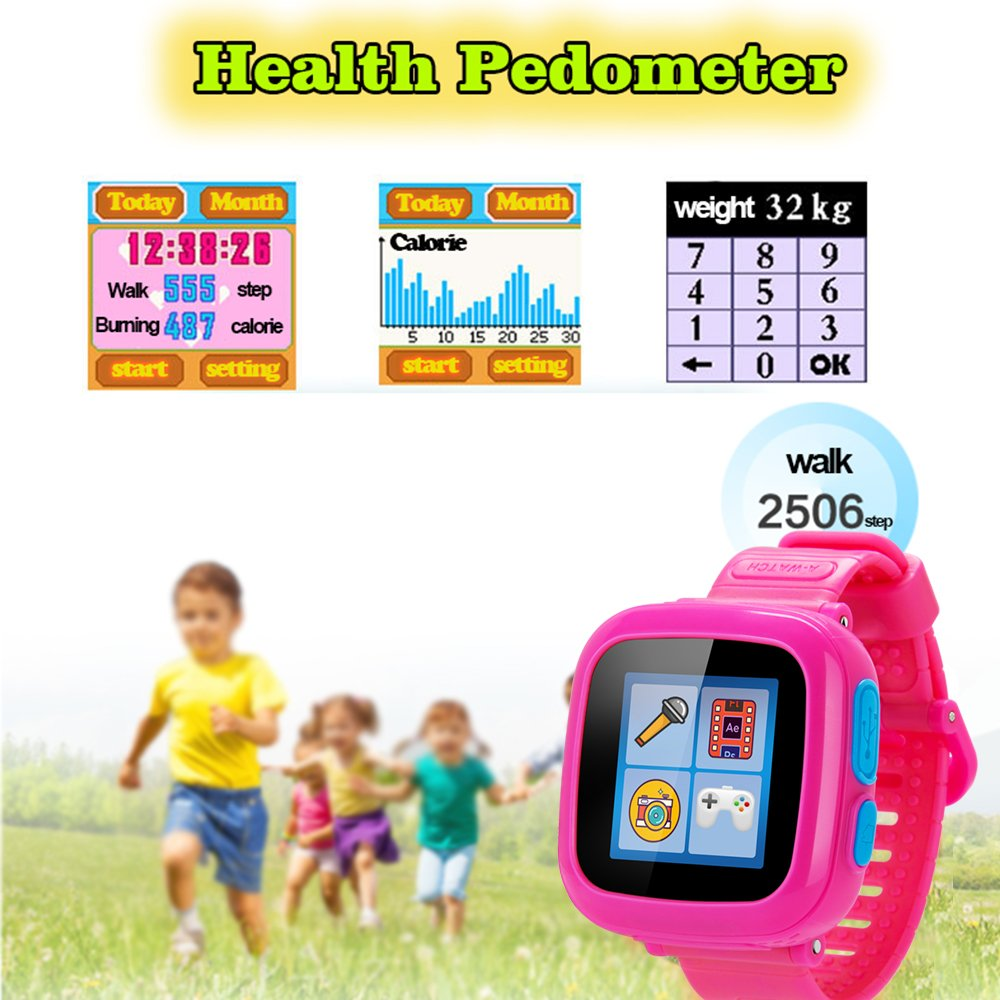 GBD Kids Game Watch,1.5'' Touch Smart Watches for Summer Birthday Gifts Travel Camping Kids Boys Girls with Pedometer Camera Alarm Clock Electronic Learning Toys (02Pink) by GBD (Image #4)