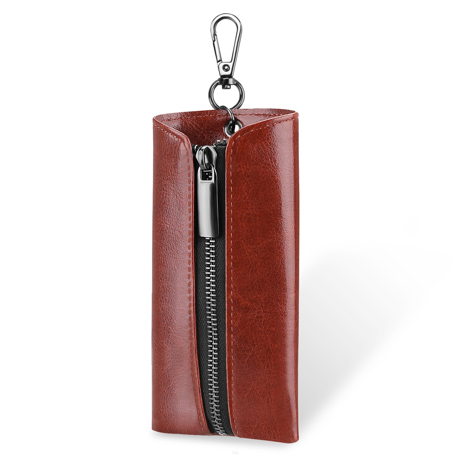 SITHON Vape Pouch for JUUL - Portable PU Leather Carrying Case E-CIG Holster with Pods Holder & Carabiner Keychain for JUUL Vaping Accessories (Brown)