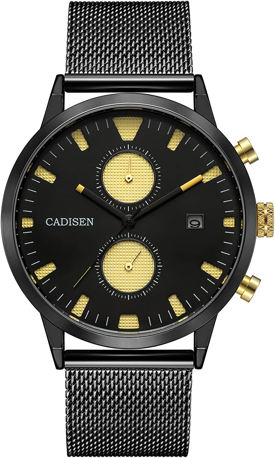CADISEN Chronograph Luxury Black Gold Classic Waterproof 43mm case Quartz Mens Watches with Steel Mesh Band C2023MNNB