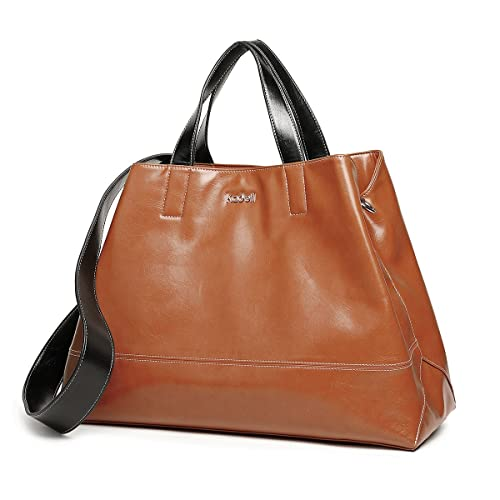 44bb145d77 Kadell Women PU Leather Tote Bag Handbags Satchel Purse Top Handle Triangle  Shoulder Bag Coffee