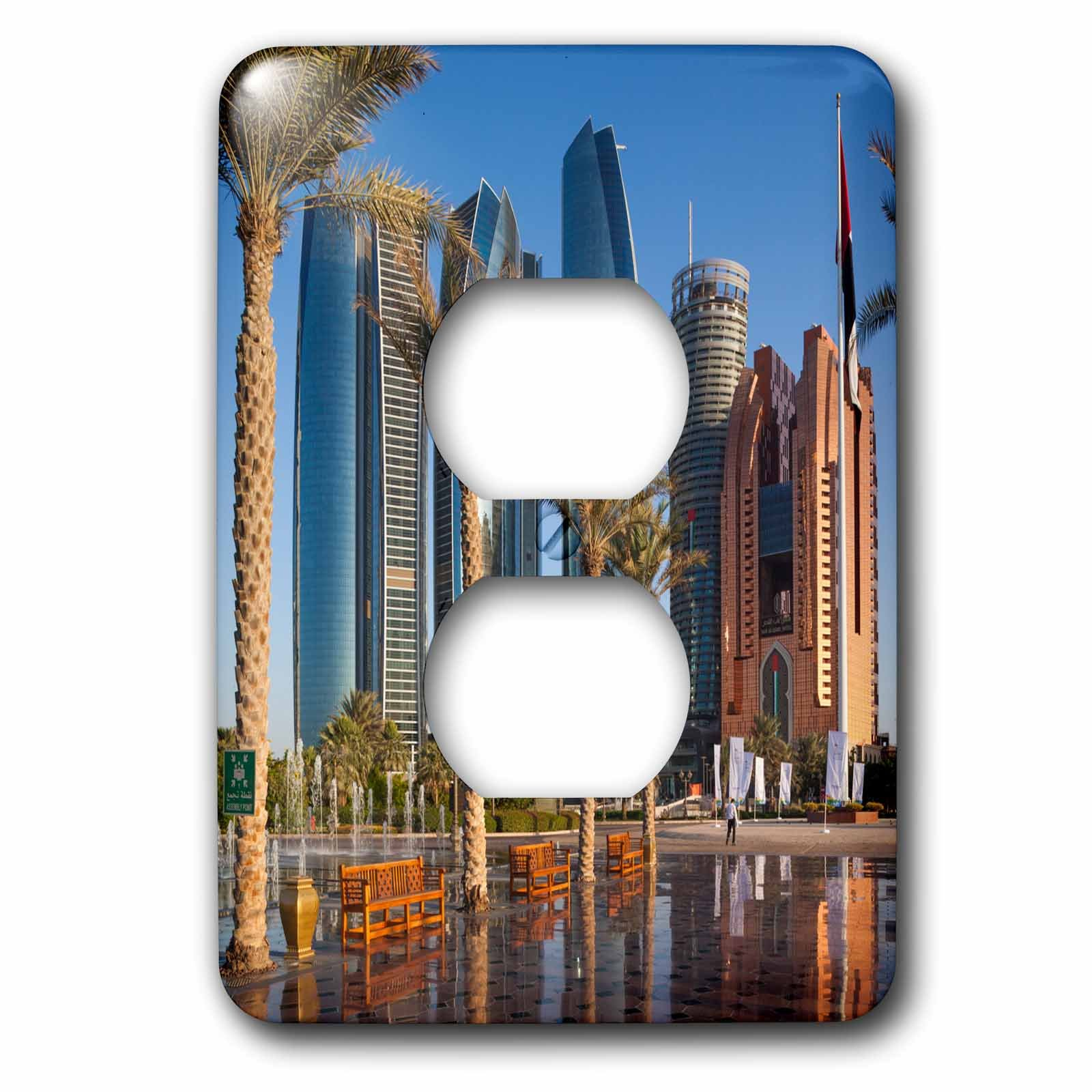 3dRose Danita Delimont - Cities - UAE, Abu Dhabi. Etihad Towers and Emirates Palace Hotel fountains - Light Switch Covers - 2 plug outlet cover (lsp_277135_6)