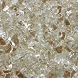 Celestial Fire Glass - Platinum Moonlight - 1/4 Inch Reflective Tempered Fire Glass – 10 Pound Jar with Carrying Handle - Designed for Gas Fire Pits and Fireplaces