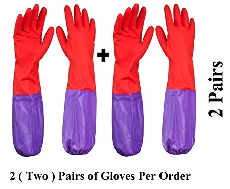Woogor Reusable Rubber Latex Multipurpose Gloves,(Free Size)