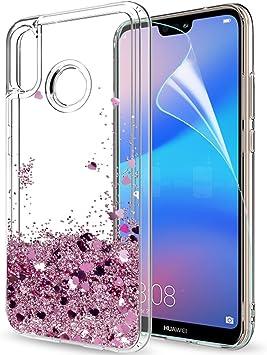 LeYi Coque Huawei P20 Lite avec Protection écran, Fille Personnalisé Liquide Paillette Transparente 3D Silicone Gel Antichoc Kawaii Protection Etui ...