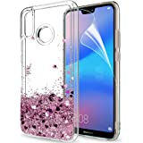 LeYi Case for Huawei P20 Lite with HD Screen Protector, Glitter Liquid Quicksand Flow Luxury Fashion Clear Transparent TPU Gel Silicone Shockproof Cover for Huawei P20 Lite/Nova 3E Rose Gold (Pink)