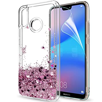 size 40 683f0 028e3 LeYi Case for Huawei P20 Lite with HD Screen Protector, Glitter Liquid  Quicksand Flow Fashion Clear Transparent TPU Gel Silicone Shockproof Cover  for ...