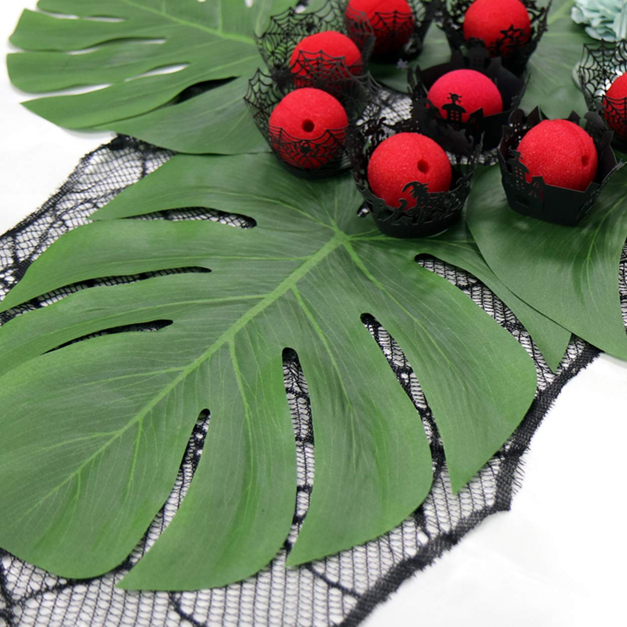 GuassLee Simulation Tropical Plam Leaves - 12pcs 14 Large Palm Leaves for Luau, Hawaiian, Jungle, Beach Party Decorations