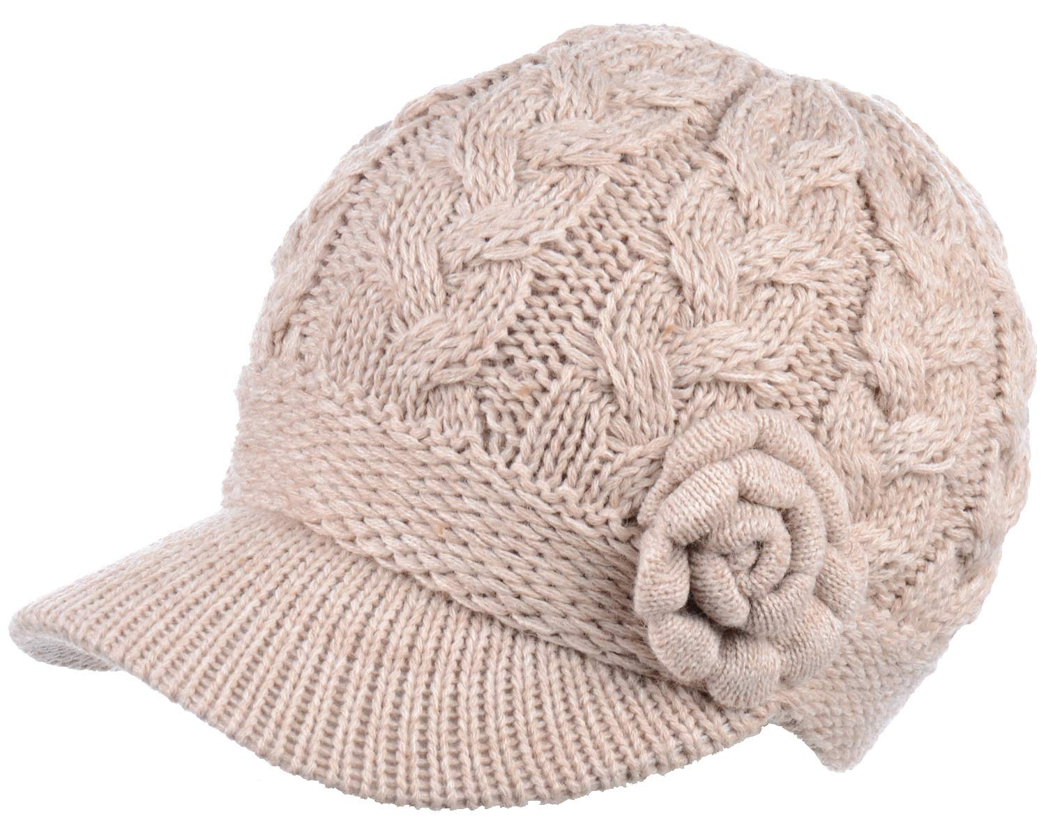 BYOS Womens Winter Chic Cable Knitted Newsboy Cabbie Cap Beret Beanie Hat with Visor, Warm Plush Fleece Lined, Many Styles (Cable w/Flower Nature) by Be Your Own Style