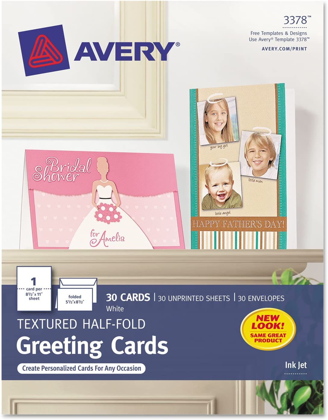 Avery 3378 Textured Half-Fold Greeting Cards, Inkjet, 5 1/2 x 8 1/2, White, Envelopes Included (Box of 30) : Office Products