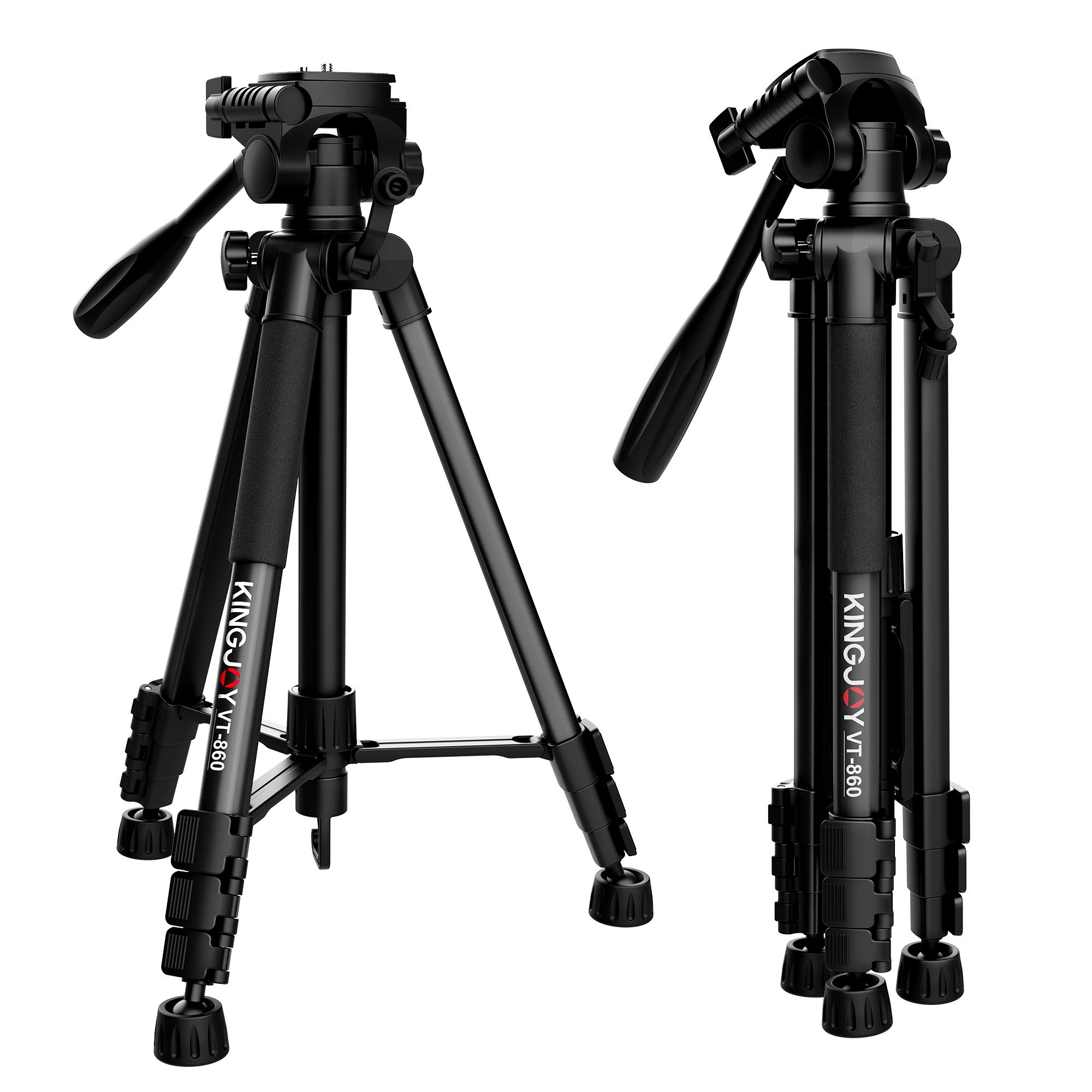KINGJOY Travel Camera Tripod Kit, Lightweight Aluminum Tripods with Fluid Head for Photography Video Shooting, YouTube Videos, Live Webcasts, Support DSLR SLR Camcorder, VT-860 by KINGJOY