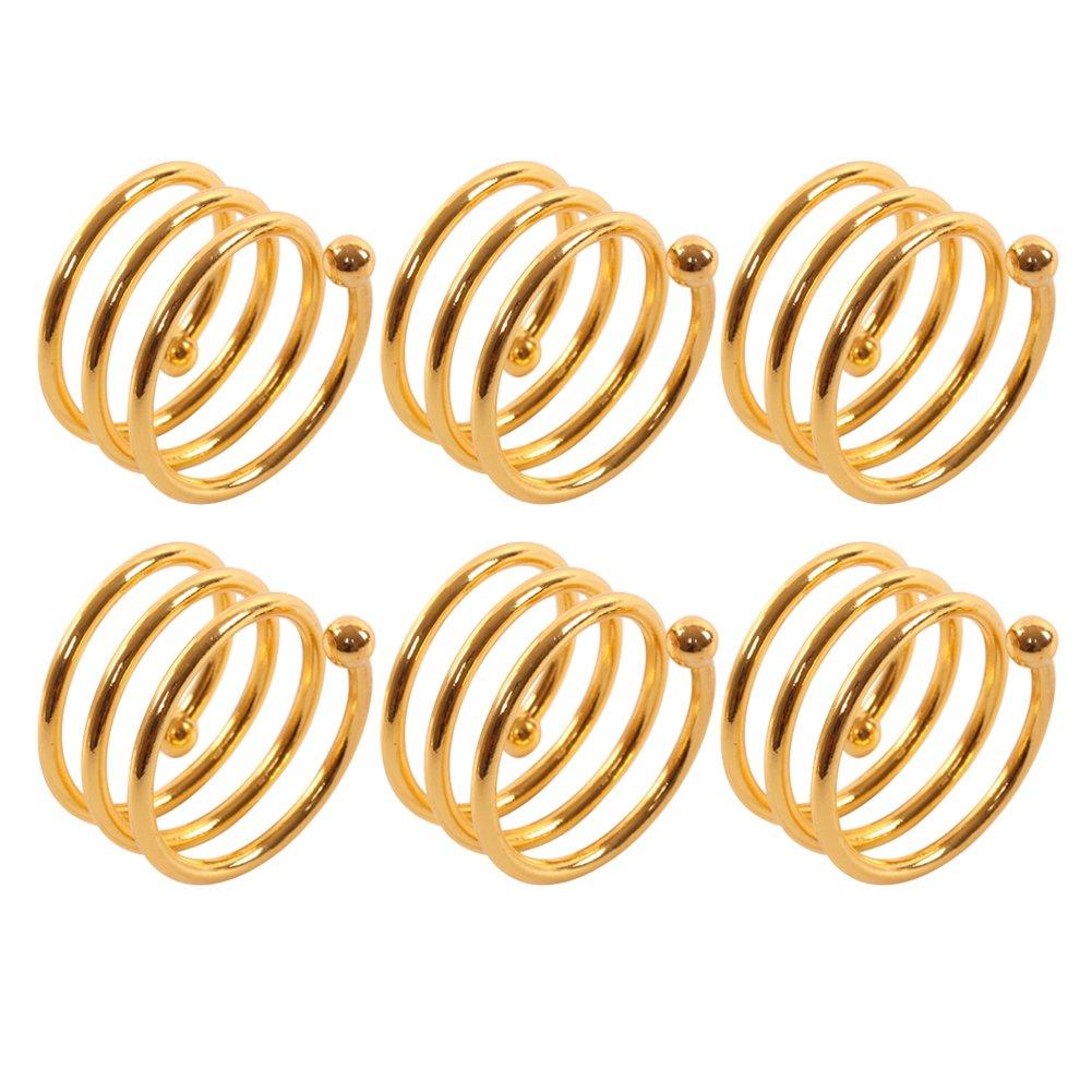 Frjjthchy 6 Pcs Stainless Steel Spiral Napkin Rings Serviette Holder (Gold)