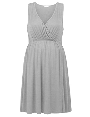 4b6246040d791 Skylin Pleated Breastfeeding Sleepwear Gown Women Sleeveless Pajamas Lounge  (Gray, XL)