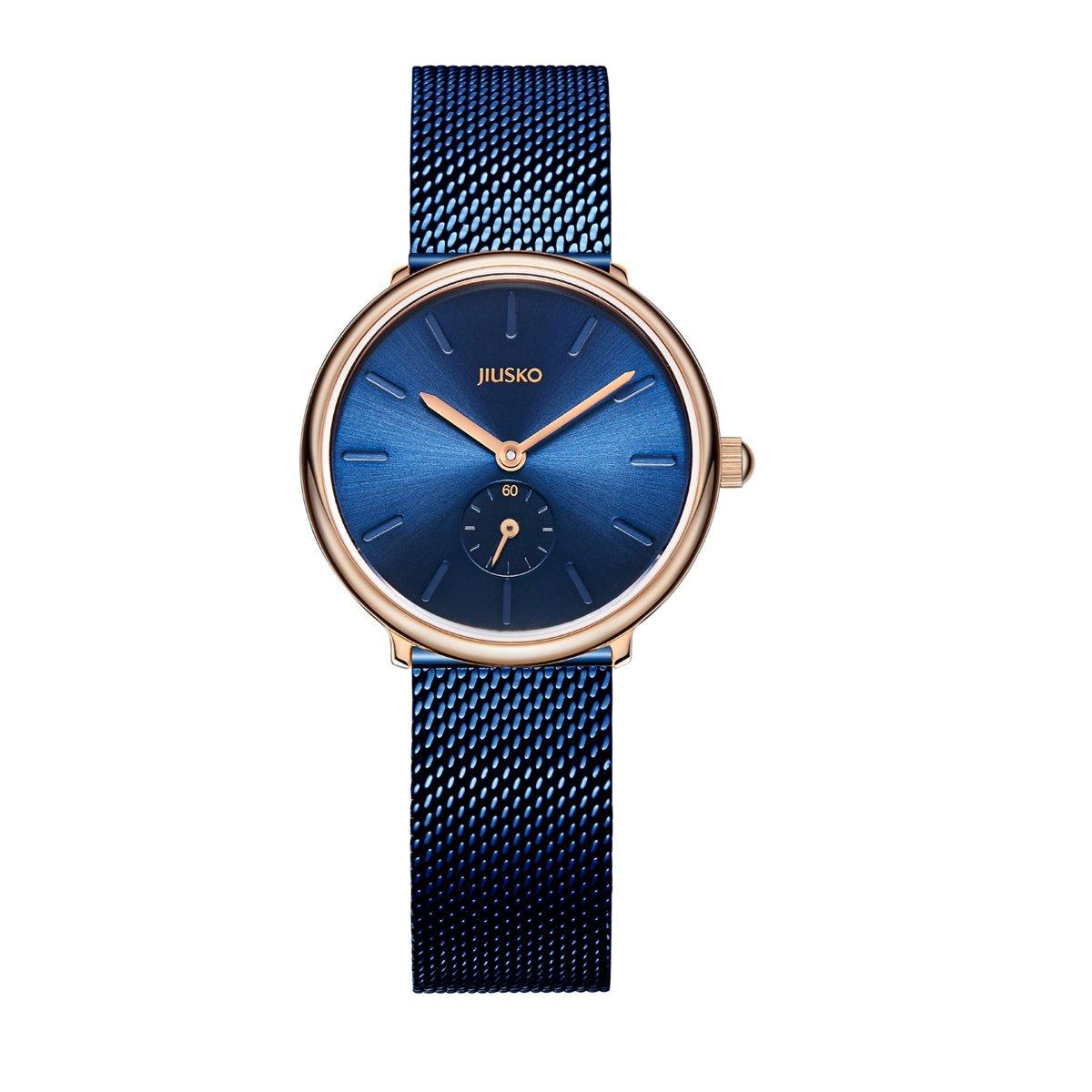 Jiusko Sapphire - Women's Quartz Dress Watch - Blue Steel Mesh - Rose Gold - 393