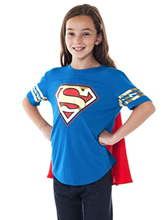 dfef87c8f9b Amazon.com  DC Comics Girls T-Shirt   Cape Superman Logo Gold Foil Print ( Supergirl