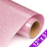 Glitter Heat Transfer Vinyl Rolls 12x60 Inch, Iron on Vinyl for T-Shirt Clothing by TransWonder(Pink)