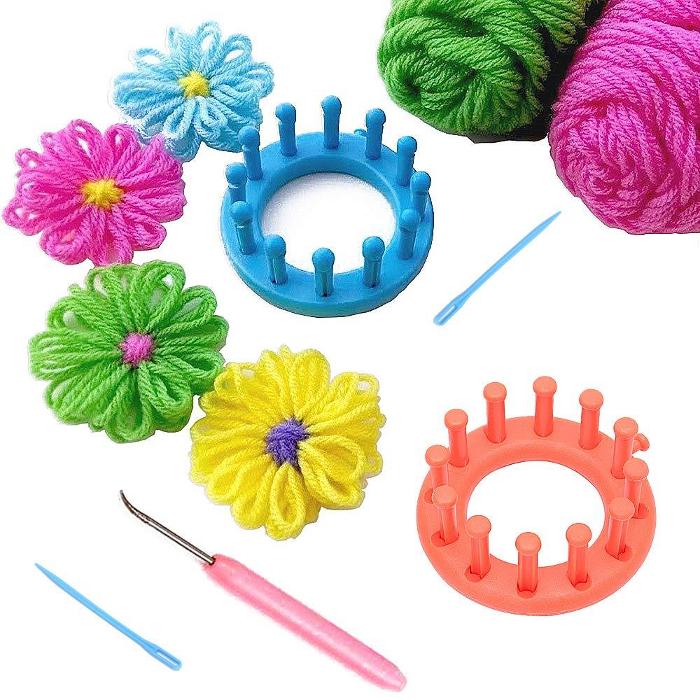RMISODO 2 Pieces Circular Loom Set Knitter Knitting Flower Loom Kit for Embellishment Needle Craft