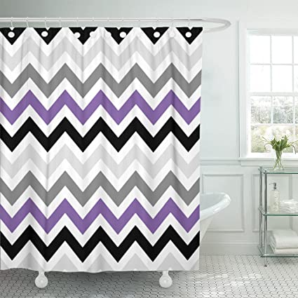 Accrocn Waterproof Shower Curtain Curtains Fabric Purple Black Gray Chevron Zigzag Pattern Design Extra Long 72x78