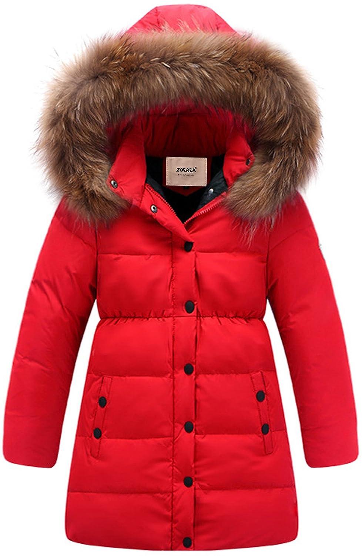 ZOEREA Kids Girls Winter Parka Coat Puffer Thickening Long Down Jacket Padded Waterproof Outwear with Windbreaker Fur Hood