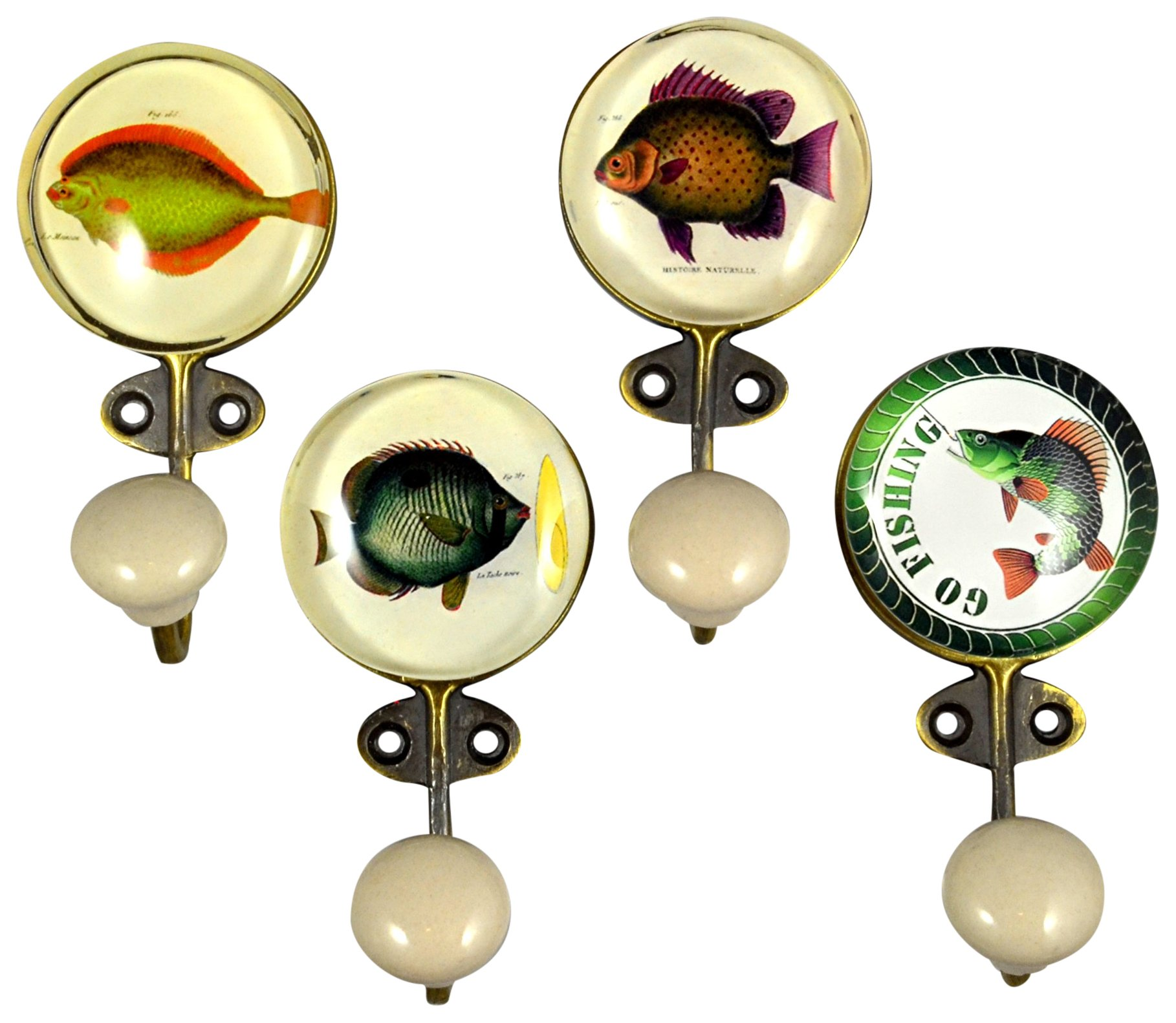 Charleston Knob Company EE-405A/B/C/D Assorted Mix Brass with Glass Inlay Hook, Set of 4, Fish Design