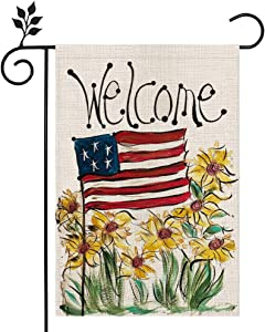 CROWNED BEAUTY Patriotic American Star and Strip Floral Welcome Garden Flag 12×18 Inch Double Sided 4th of July Independence Day Memorial Day Yard Outdoor Decor CF114-12