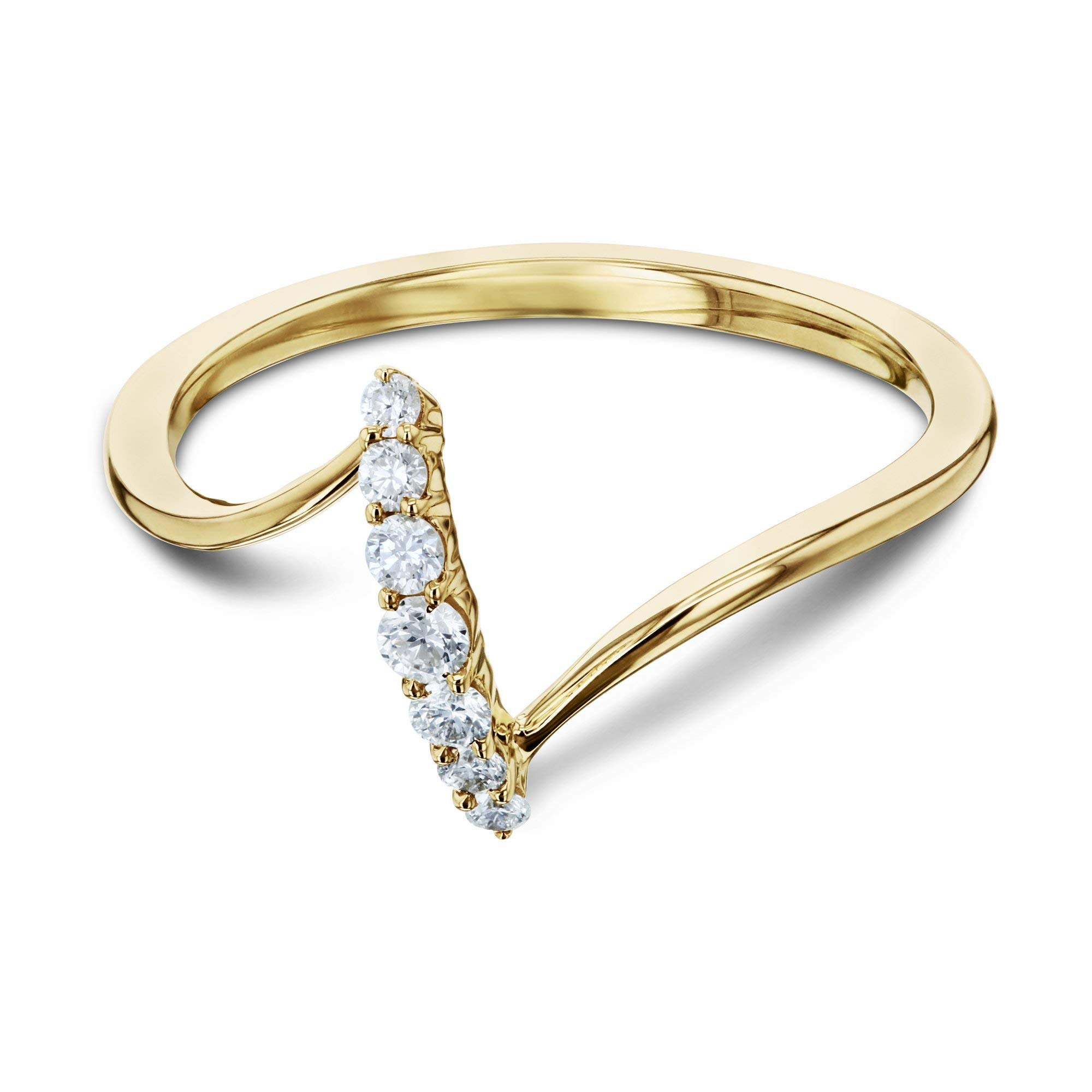 Diamond Z Shaped Gold Ring, 6