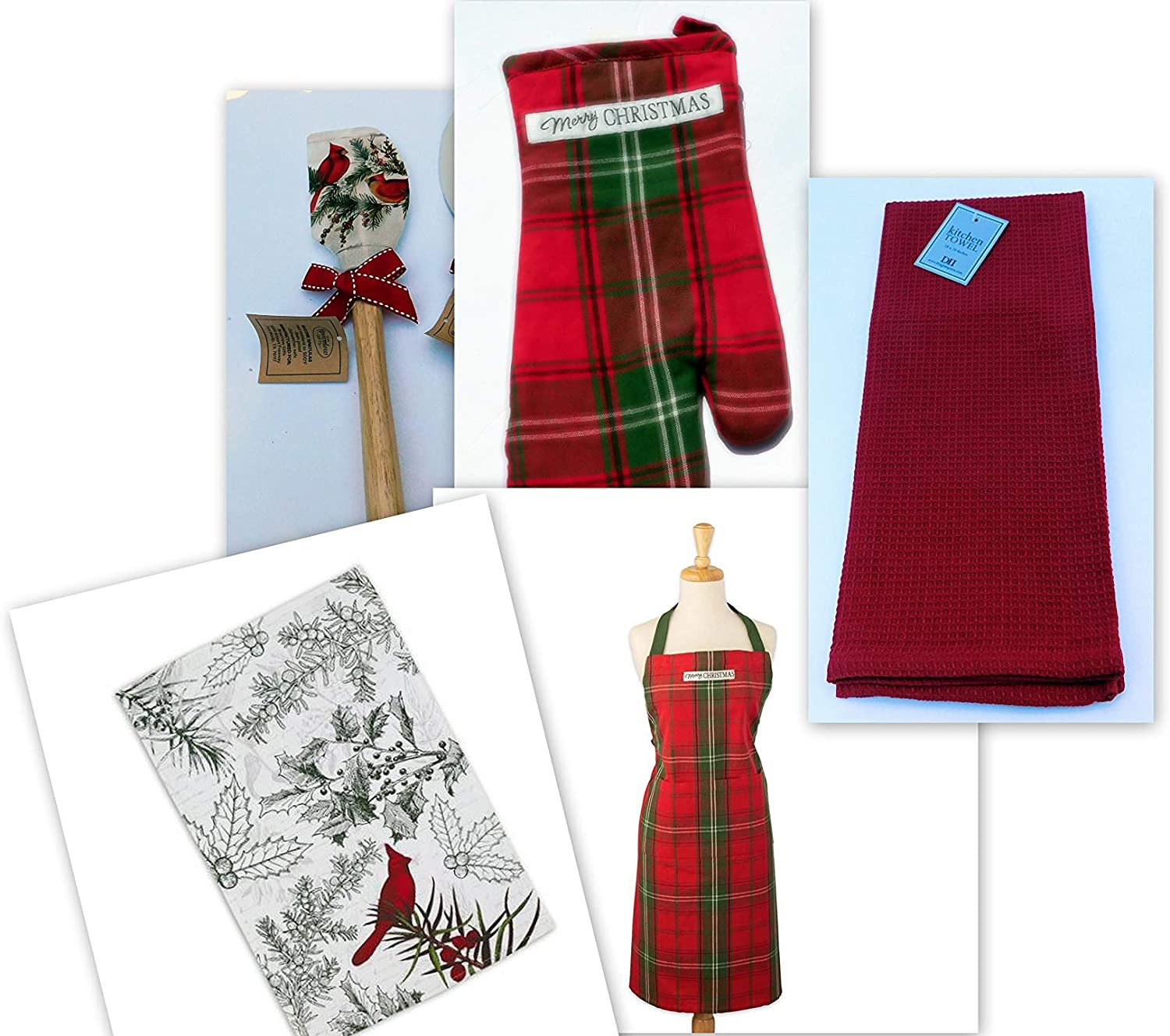 Christmas Apron Dish Towels Oven Mitt and Silicone Spatula Set of 5 Vintage Red Tartan Lynn's Herb Garden