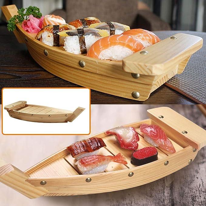Fltaheroo Wooden Sushi Tray Serving Boat Plate Large Size 50cm for Restaurant