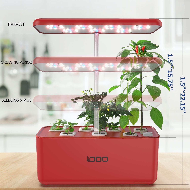 iDoo Sistema de Cultivo hidrop/ónico,Kit de Inicio de jard/ín de Hierbas para Interiores con luz de Crecimiento LED,Maceta de jard/ín Inteligente para Cocina casera,Altura Ajustable 7 vainas