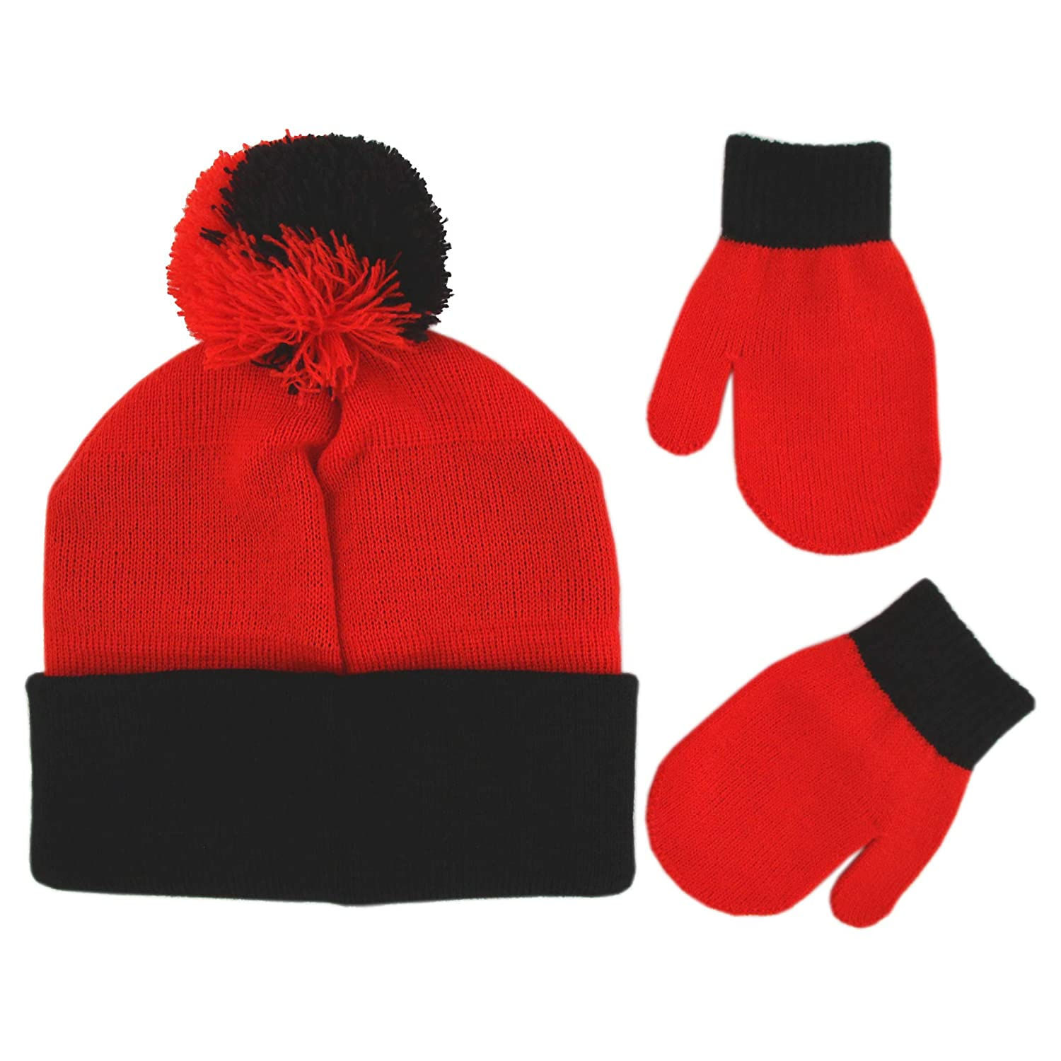 136cbbf46e3 Disney Boys Toddler Cars Lightning McQueen Beanie Hat and Mittens Winter  Set