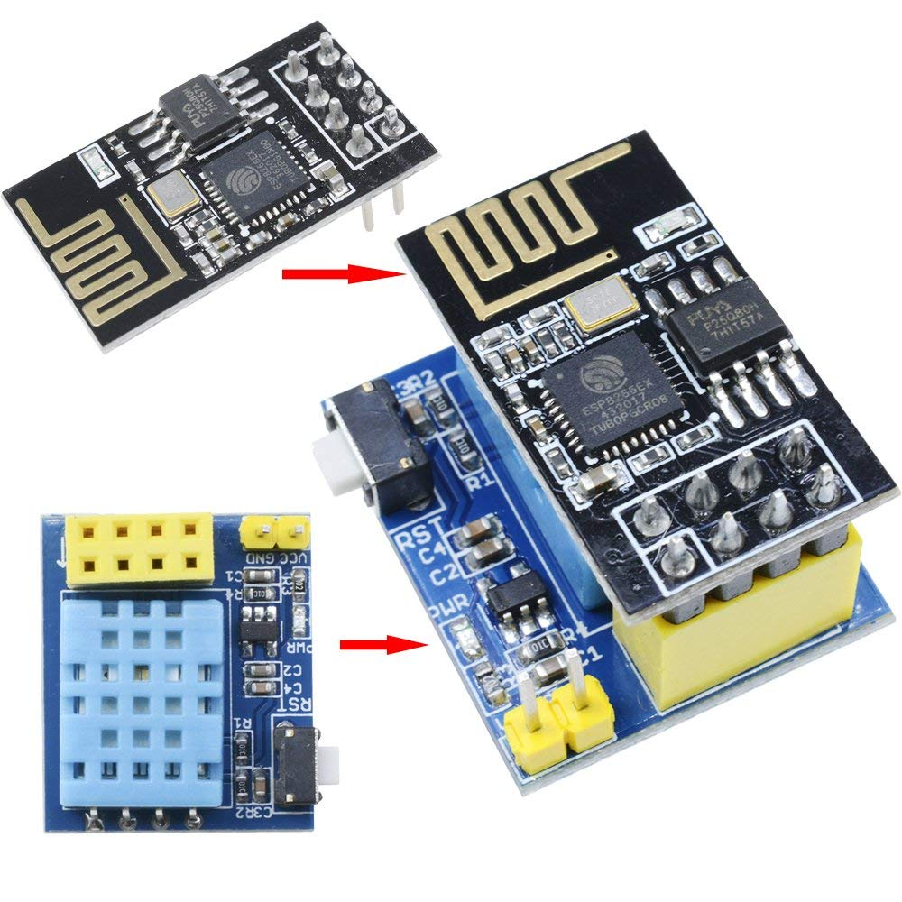 Youmile 2PACK ESP8266 DHT11 ESP-01 ESP-01S Temperature and Humidity Sensor WiFi Module Wireless NodeMCU Smart Home IOT DIY Kit Blue
