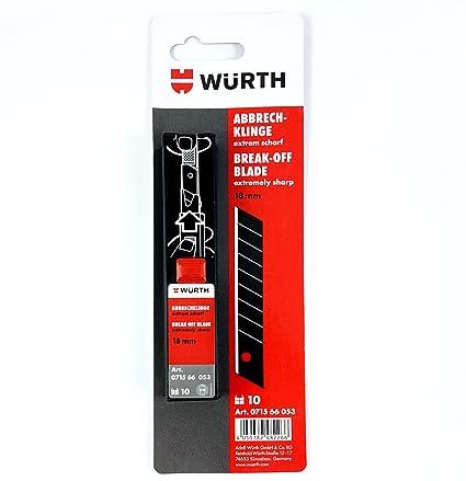 -Würth 4050382482266 – 10 cuchillas de repuesto muy afiladas,18 mm