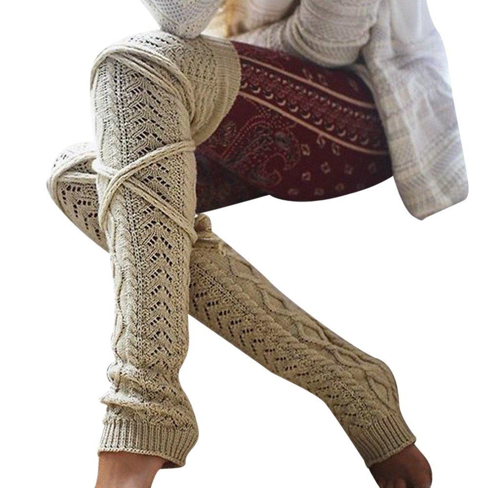 da30268fa Amazon.com  Kingspinner Women s Over Knee Socks Winter Warm Thigh High Long  Stockings Knit Socks With Bandage (Beige)  Clothing