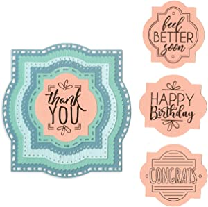 Sizzix Framelits Die Set with Stamps , Layered Labels by Courtney Chilson, 6 Pack, Multiple Sizes, Multicolor